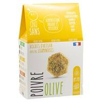 CINQ SANS Biscuits Apéro Olives Poivre bio 100 g - CINQ SANS
