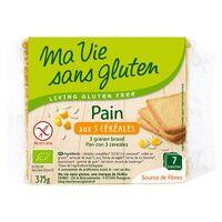 Ma Vie sans Gluten Pain aux 3 céréales Bio 7 unités - Ma Vie sans Gluten