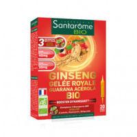 santarome bio ginseng gelée royale guarana acérola solution buvable 20 ampoules/10ml