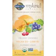 Garden of Life Vitamine D3 Vegan mykind Organics - Framboise-citron - 30 comprimés à croquer