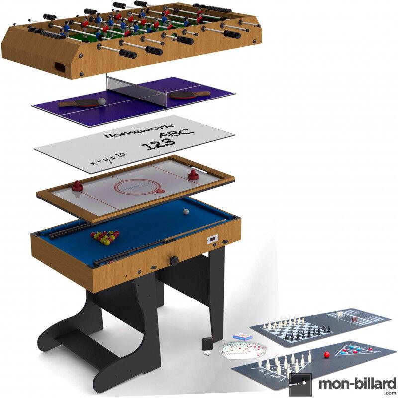 Billard Riley Table Multi Jeux Pliable Riley 4 en 1 (+ 8 jeux offerts)