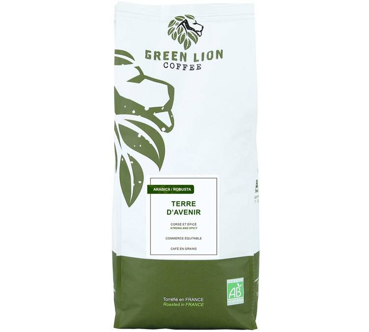 Green Lion Coffee Café en grains bio Green Lion Coffee Terre d'avenir Commerce Equitable - 1kg - Sélection Verte (Bio) - Café Bio - Bio