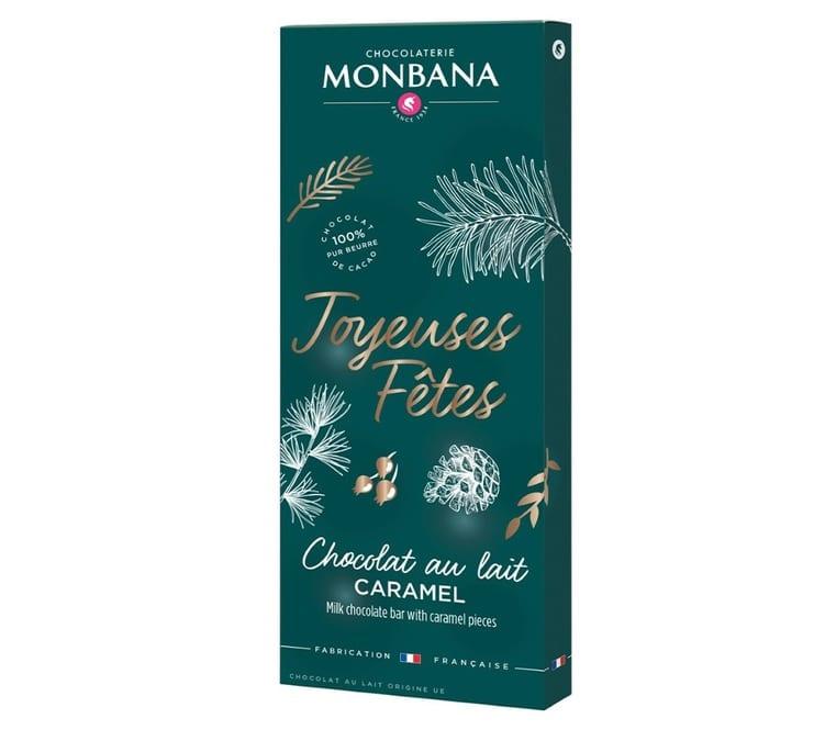 Monbana Tablette joyeuses Fêtes au Chocolat Au Lait Et Éclats De Caramel 100g - Monbana