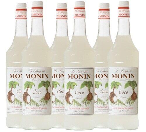 Monin Lot de 6 Sirops Monin - Coco - 6 x 1 L - Arômes naturels