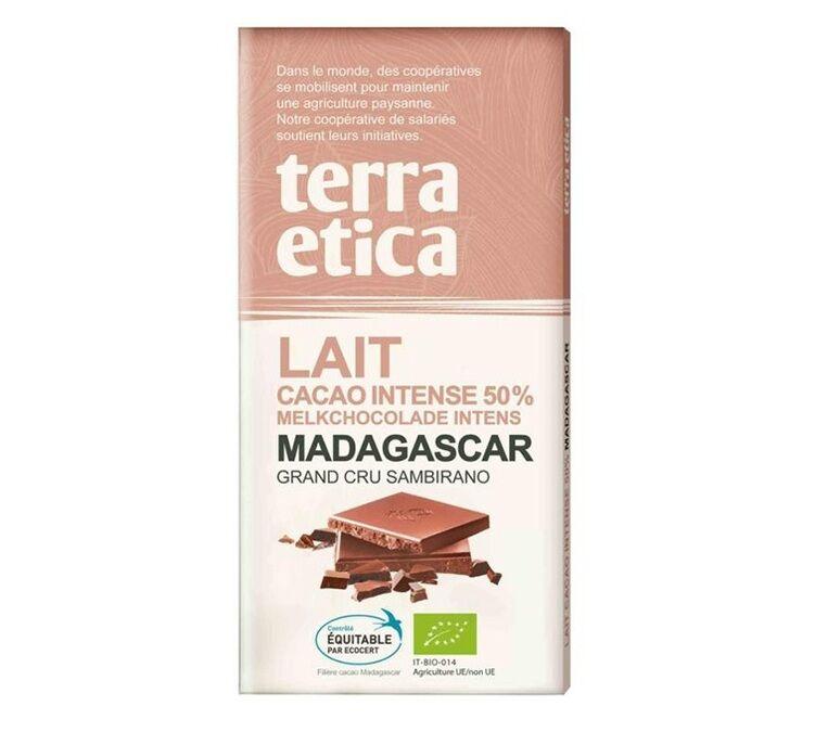 Terra Etica - Tablette chocolat au Lait 50% Madagascar 100g - Café Michel - Bio