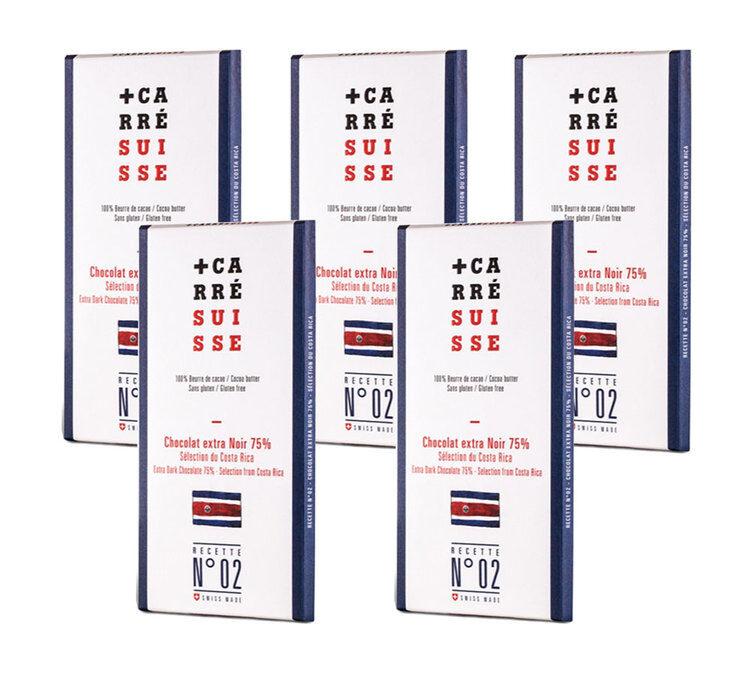 Carré Suisse Pack de 5 Tablettes Chocolat Extra Noir 75% Costa Rica 5x100g - Carré Suisse - Sans gluten