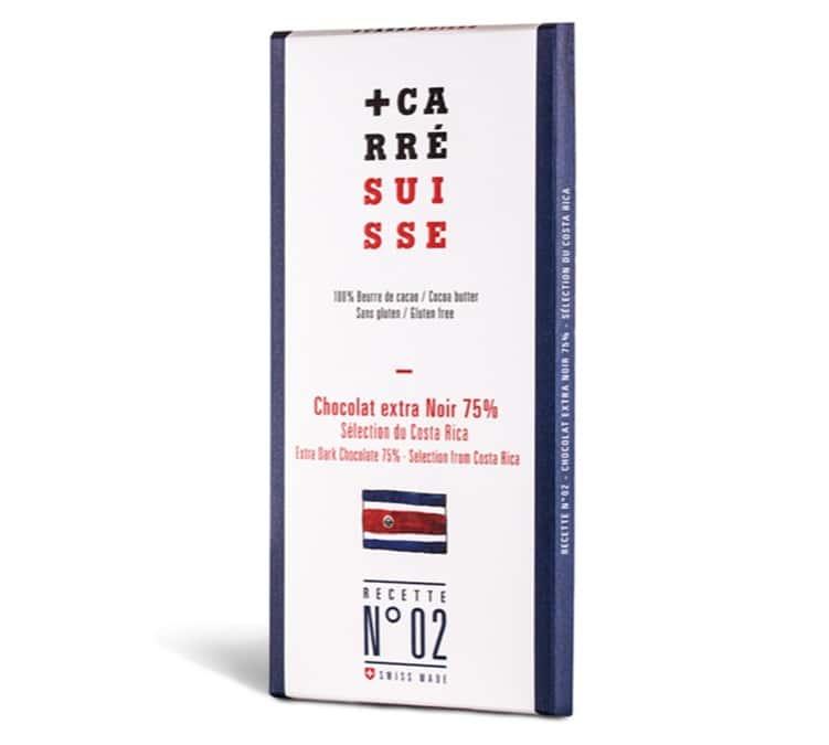Carré Suisse Tablette Chocolat Extra Noir 75% Costa Rica 100g - Carré Suisse - Sans gluten