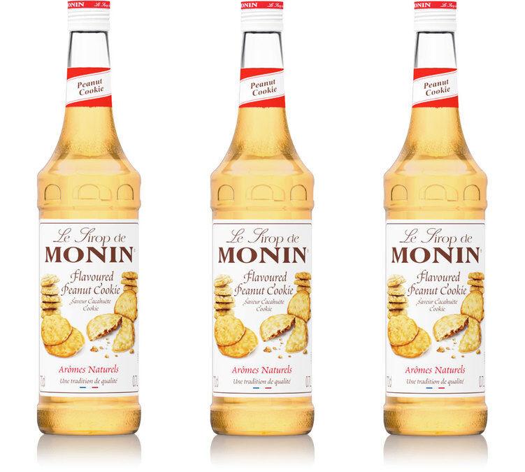 Monin Sirop Monin - Cookie Cacahuète - 3 x 70 cl - Sans conservateur