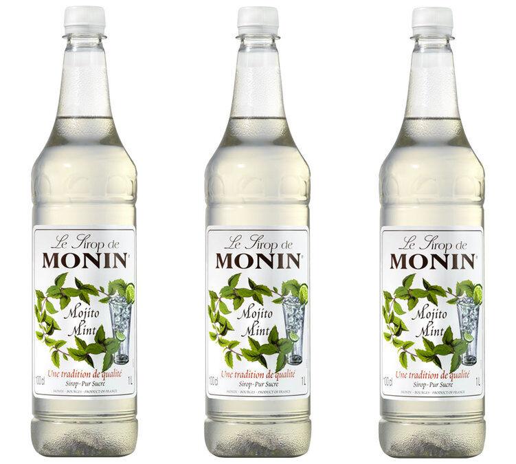 Monin Sirop Monin saveur Mojito Mint (sans alcool) - Bouteille plastique - 3 x 1L - Arômes naturels