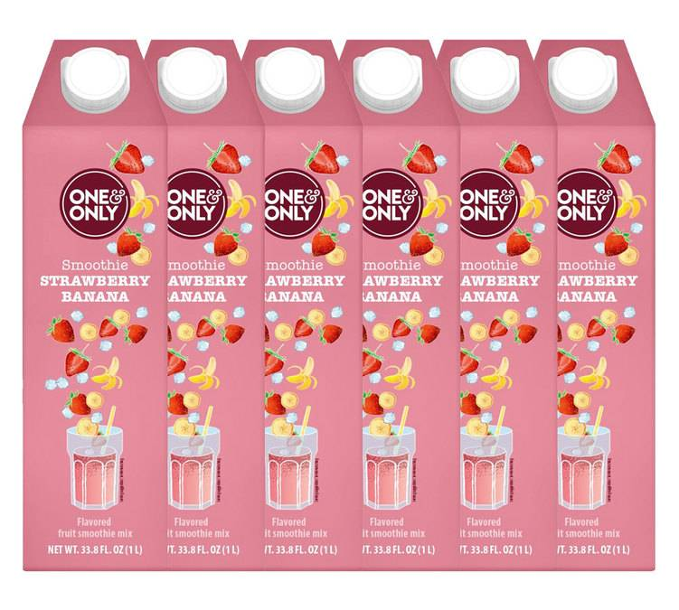 One & Only Lot de 6 Smoothies Fraise-Banane 1 L - One & Only - Sans gluten