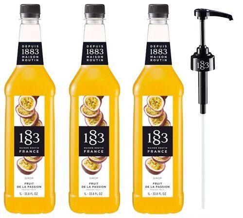 1883 - Maison Routin - Sirop 1883 Routin Fruit de la passion - Bouteille plastique - 3 x 1L + Pompe doseuse - Sans OGM