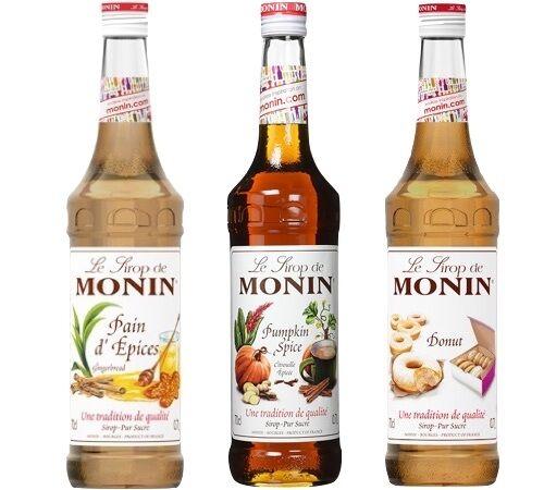 Monin Lot De 3 Sirops Monin Gourmands : Citrouille Epicée/pain D'epices/donuts - 3x70cl