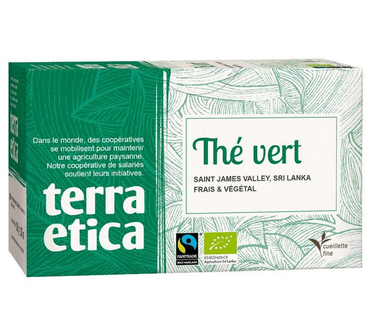 Terra Etica - Thé vert du Sri Lanka - 20 sachets fraicheur - Café Michel - Bio