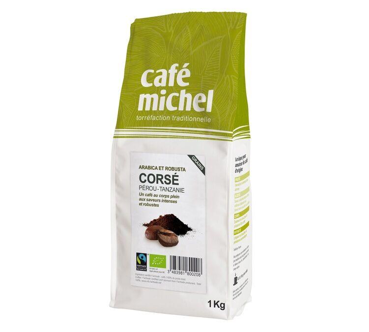 Café Michel Café en grains bio Mélange Corsé - 1Kg - Café Michel - Sélection Verte (Bio) - Café de Grandes Marques - Bio