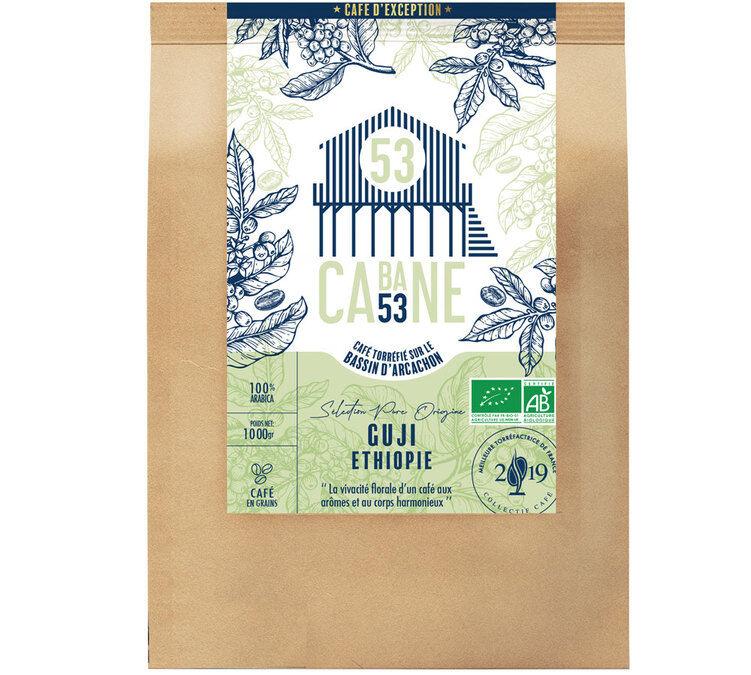 Cabane 53 Café en grains : Ethiopie - Guji - 1kg - Cabane 53 - Sélection Bleue (Artisanal) - Café Bio - Bio