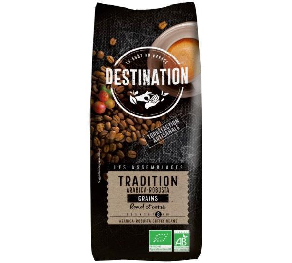 Destination Café en grains Bio Tradition n°8 Arabica/Robusta Destination x 1 kg - Sélection Verte (Bio) - Café de Grandes Marques - Bio