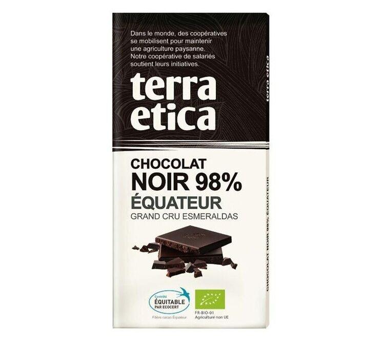 Terra Etica - Tablette chocolat Noir 98% Equateur 100g - Café Michel - Bio