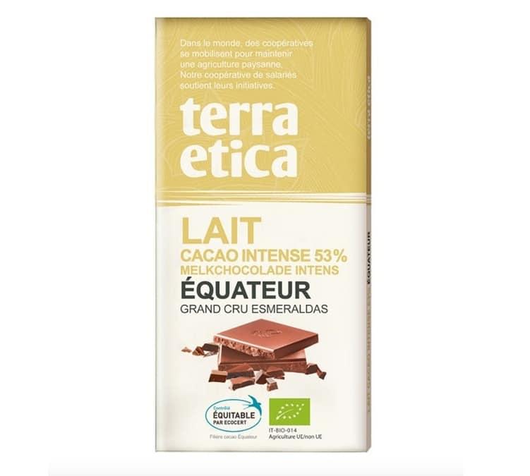 Terra Etica - Tablette chocolat au Lait 53% Equateur 100g - Café Michel - Bio