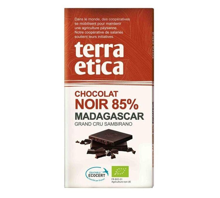 Terra Etica - Tablette chocolat Noir 85% Madagascar 100g - Café Michel - Bio