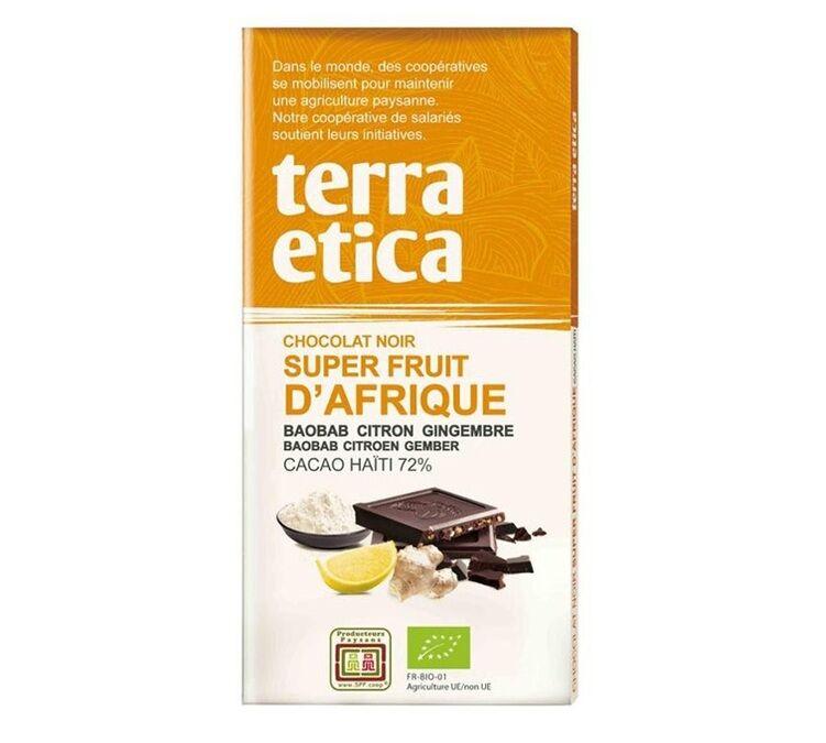 Terra Etica - Tablette chocolat Noir 72% Superfruits d'Afrique 100g - Café Michel - Bio