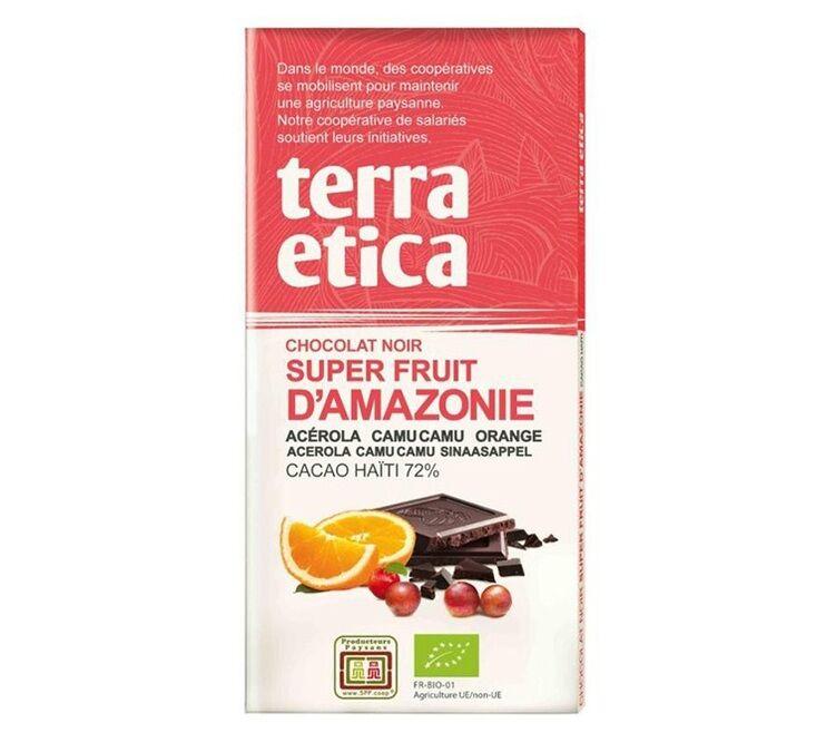 Terra Etica - Tablette chocolat Noir 72% Superfruits d'Amazonie 100g - Café Michel - Bio