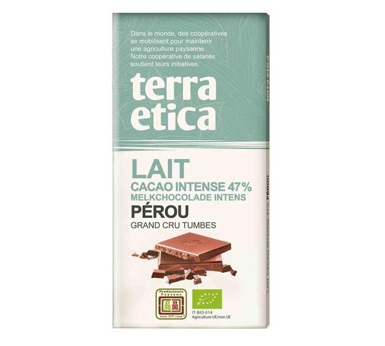 Terra Etica - Tablette chocolat au Lait 47% Pérou 100g - Café Michel - Bio