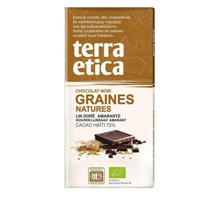Terra Etica - Tablette chocolat Noir 72% Graines Natures 100g - Café Michel - Bio
