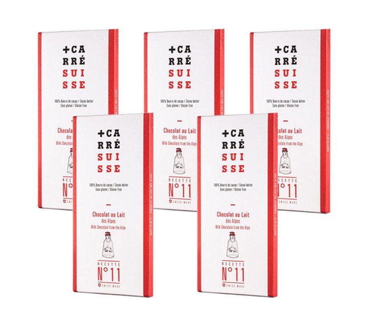 Carré Suisse Pack de 5 Tablettes de Chocolat au Lait des Alpes 5x100g - Carré Suisse - Sans gluten