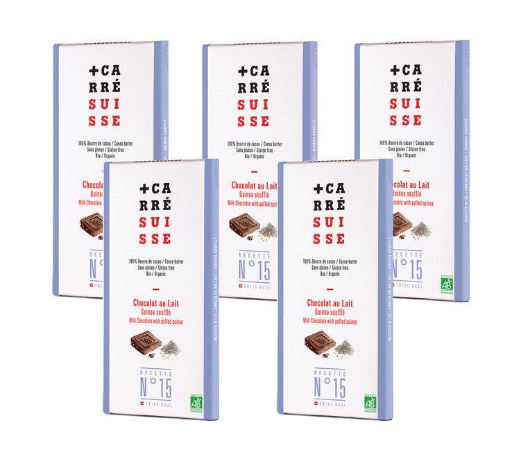 Carré Suisse Pack de 5 Tablettes Chocolat au lait Quinoa soufflé Bio 5x100g - Carré Suisse - Bio