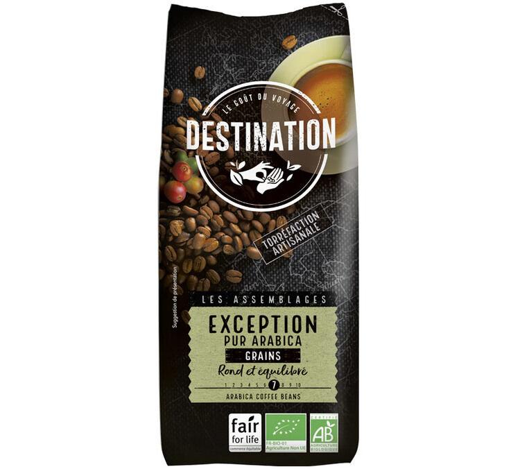 Destination Café en grains Bio Exception n°16 100% Arabica Destination x 1 kg - Sélection Verte (Bio) - Café de Grandes Marques - Bio