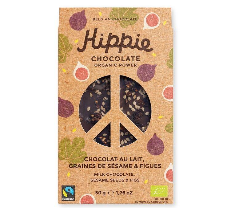 Hippie Chocolate Tablette Chocolat au lait, graines de sésame & figues - 50g - Hippie Chocolate - Bio