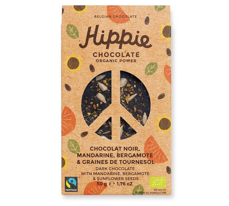 Hippie Chocolate Tablette Chocolat noir, mandarine, bergamote & graines de tournesol - 50g - Hippie Chocolate - Bio