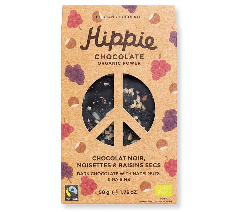 Hippie Chocolate Tablette Chocolat noir, noisettes & raisins secs - 50g - Hippie Chocolate - Bio