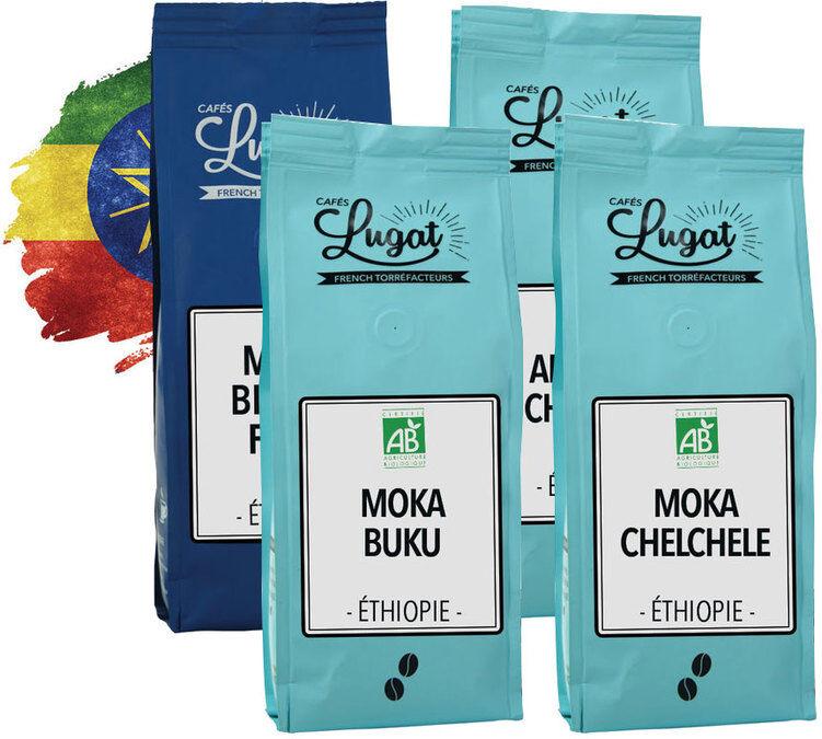 Cafés Lugat Pack découverte Grand Cru Café en grains : Ethiopie - 4x250g - Cafés Lugat - Ethiopie