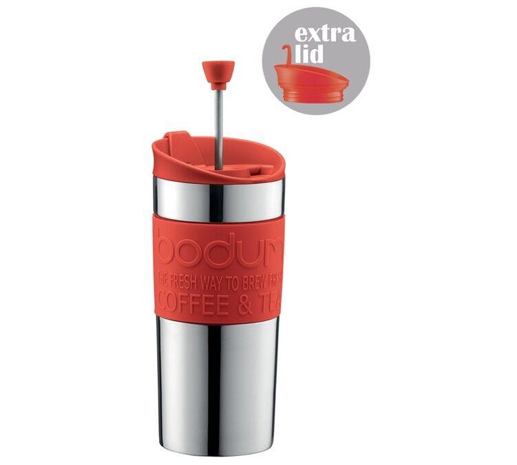 Bodum Mug isotherme inox Travel Press 35 cl rouge - 2 couvercles (Piston & Clapet) - Bodum - 35.0000 cl