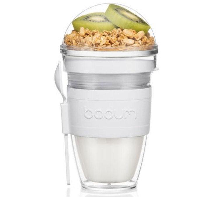 Bodum Granola à emporter, en plastique double paroi, avec couvercle et cuillère, 0.25 l - JOYCUP - Shadow - Bodum - Sans BPA