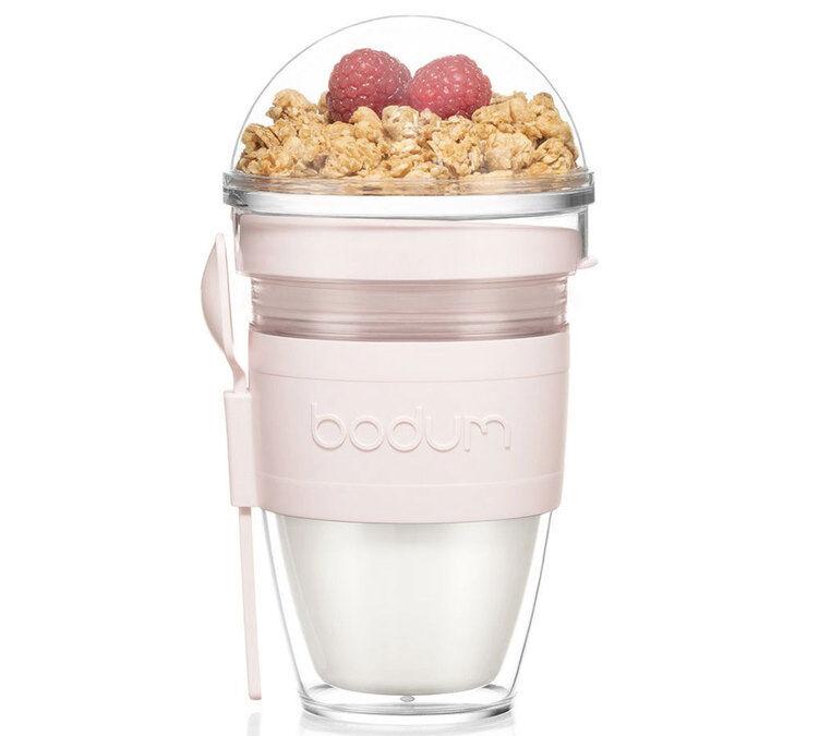 Bodum Granola à emporter, en plastique double paroi, avec couvercle et cuillère, 0.25 l - JOYCUP - Strawberry - Bodum - Sans BPA