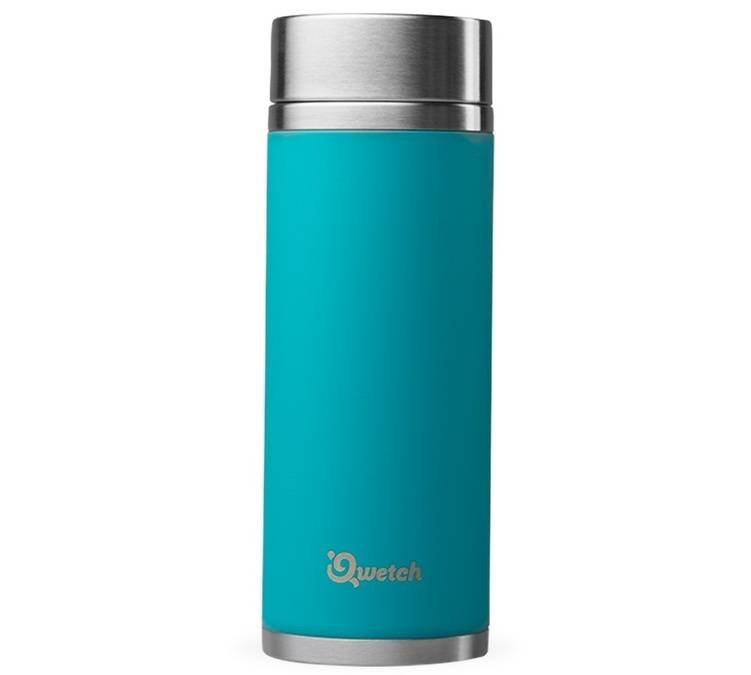 Qwetch Théière isotherme nomade inox turquoise 400 ml + 2 infuseurs - Qwetch - 40.0000 cl