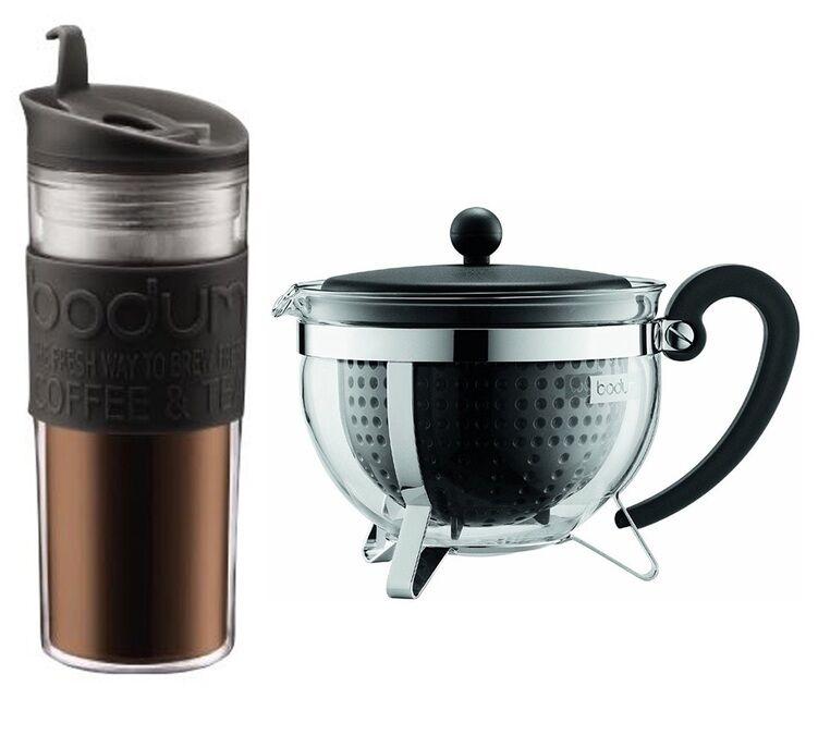 Bodum Travel mug noir double paroi 45 cl + Théière Chambord noir 1.3 L - Bodum - Sans BPA