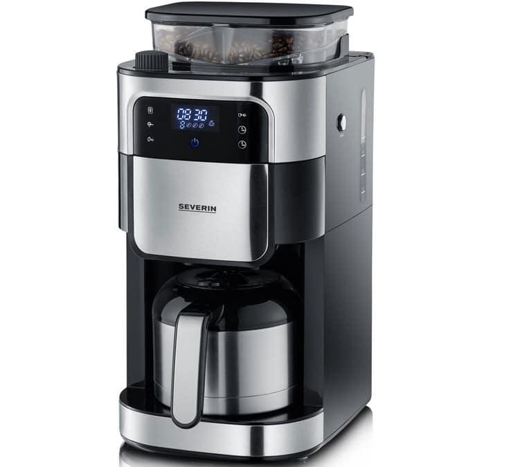 Severin Cafetière filtre isotherme avec broyeur Severin KA 4814 inox + offre cadeaux - Programmable (Timer)