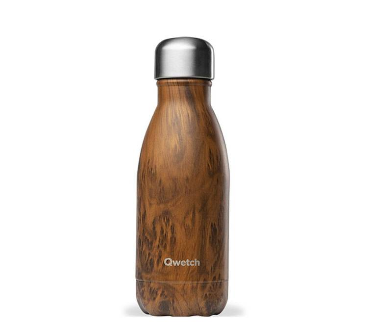 Qwetch Bouteille isotherme inox imitation bois 26 cl - Qwetch - 26.0000 cl