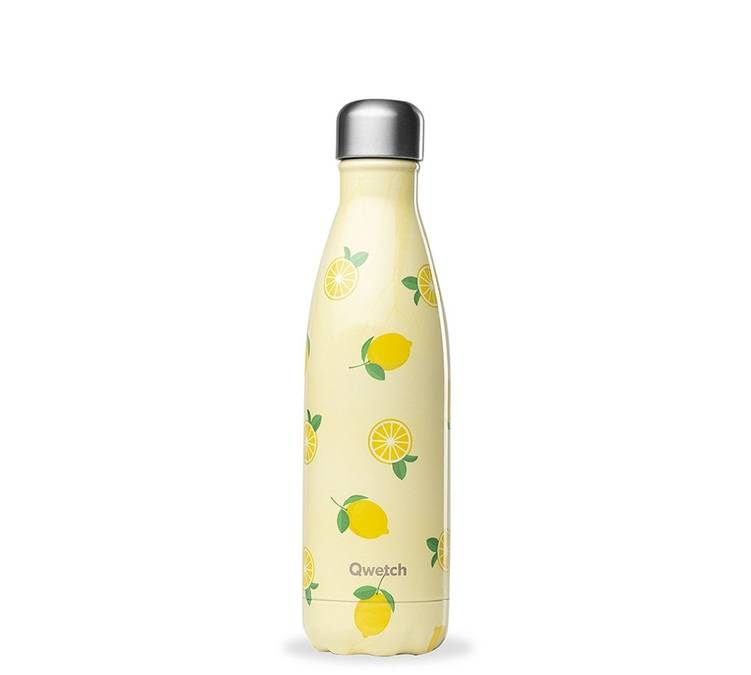 Qwetch Bouteille isotherme inox - Fruits motif Citron - 500ml - QWETCH - 50.0000 cl