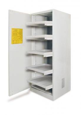 EXACTA Armoire de sécurité haute 1 porte pour produits chimiques - 1 compartiment - étagères coulissantes - EN 16121 EXACTA EO103P/DS