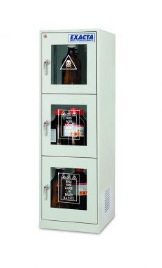 EXACTA Armoire de sécurité haute 3 portes vitrées pour produits chimiques - 3 compartiments - EN 16121 EXACTA EO104PG/3C