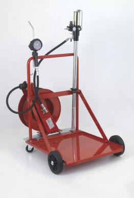 Flexbimec Groupe de distribution d'huile sur chariot pour fûts de 208 l avec panier 4 roues, flexible et mod compteur numérique du pistolet. 2826 Flexbimec 2910