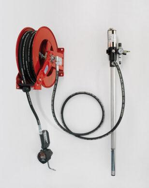 Flexbimec Station fixe de distribution d'huile avec pompe, enrouleur de tuyau flexible mod. 9090, tuyau de L. 15 m, pistolet compteur numérique mod 2826 et Unit 2984