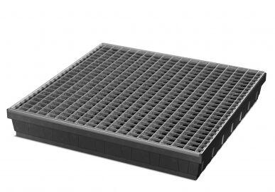 Asecos Bac de 68 litres pour petits récipients en plastique, caillebotis acier D-243483
