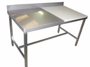 ACMA Table pour abattoir 1/2 billot + 1/2 inox 18/10 pieds reglables ACMA TAB006