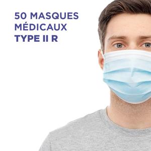 BOITE DE 50 MASQUES CHIRURGICAUX MEDICAUX EN14683 (TYPE IIR) - Publicité