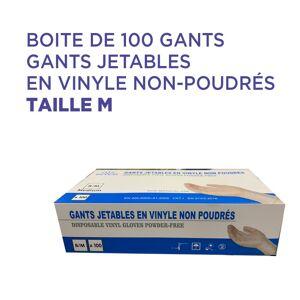 Gants jetable en vinyle non-poudrés taille M : Boite de 100 - Publicité